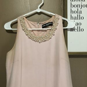Karl Lagerfield Blush and Pearl Prom Dress